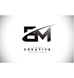 Em e m letter logo design with swoosh and black vector