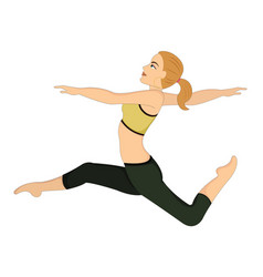 exercising woman doing dance jumps vector image