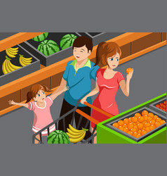 family shopping grocery vector image