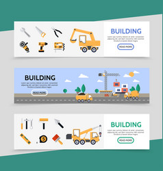 flat building industry horizontal banners vector image