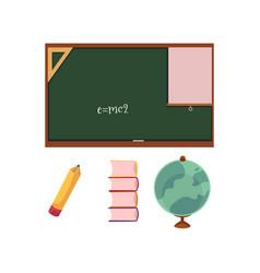 flat cartoon school supplies and blackboard vector image