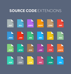 Flat style icon set source code programming file vector