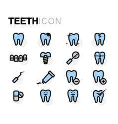 Flat teeth icons set vector