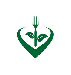 fork vegetarian food love health logo icon vector image