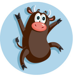 Funny ox dancing celebrating cartoon vector