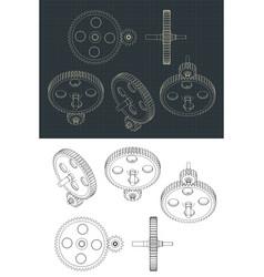 Gears blueprints vector