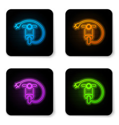 glowing neon electric scooter icon isolated on vector image