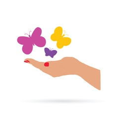hand with butterfly color vector image