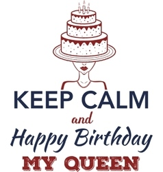 Happy Birthday greeting card birthday cake vector