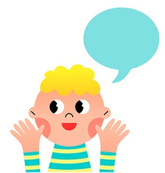 happy cartoon boy with speak bubble vector image