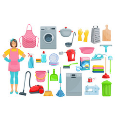 houshold woman washing cleaning icons vector image