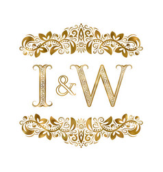 I and w vintage initials logo symbol the letters vector