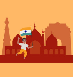 Indian child boy holding and waving national vector