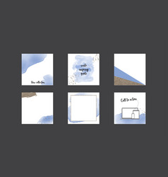 Instagram feed template in blue gold watercolor vector
