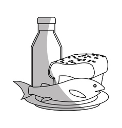 Isolated milk bread and fish design vector