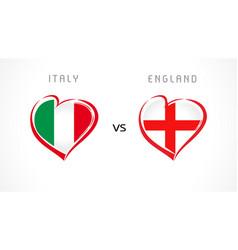 italy vs england flag emblem white banner vector image