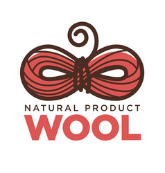 Knitting wool clew bow icon for natural vector