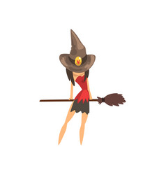 Little witch character in a hat flying with broom vector
