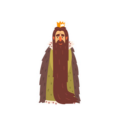Majestic king character with long beard cartoon vector