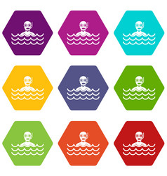 man with scuba icon set color hexahedron vector image