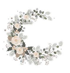 Merry christmas wreath design new year decoration vector