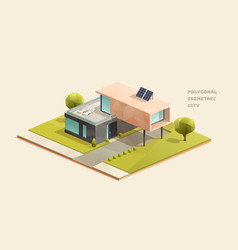 Modern family house low poly isometric vector