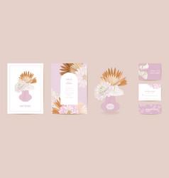Modern minimal art deco wedding invitation vector