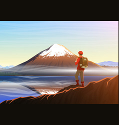 Mountain fuji with tourist morning panoramic view vector