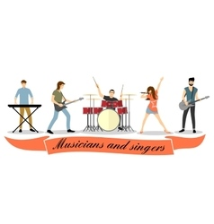 Musicians and singers set Rock band vector image