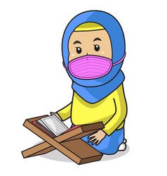 Muslim girl use yellow dress and blue hijab vector