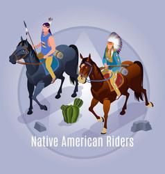 Native american riders wild west vector