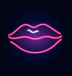 neon lips fashion sign night light signboard vector image