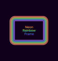 Neon rectangle frame in rainbow color vector