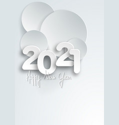 new year 2021 paper cut numbers in white color vector image