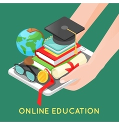 Online education concept with digital tablet vector