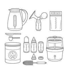 outline icons set of equipment for feeding baby vector image