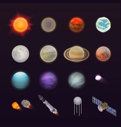 Planets icon set isometric style vector
