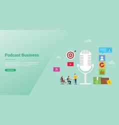podcast business concept with icon and team vector image