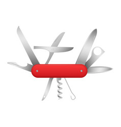 Realistic detailed 3d swiss universal knife vector