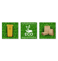 realistic ecology and nature elements set vector image
