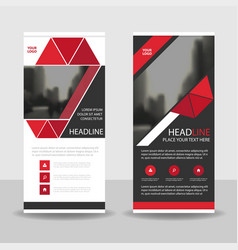 Red black triangle roll up business brochure vector
