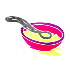 Retro cartoon doodle of a cereal bowl vector