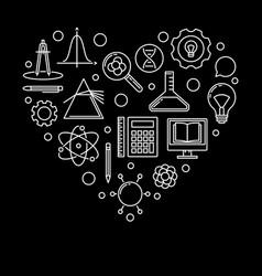 school heart linear i love vector image