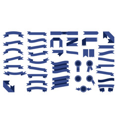 Set of beautiful colored blue ribbons vector