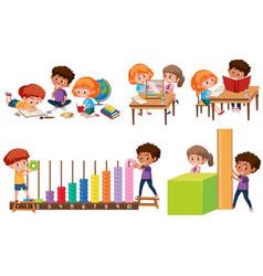 Set of children learning math vector