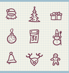 set of new year icons vector image