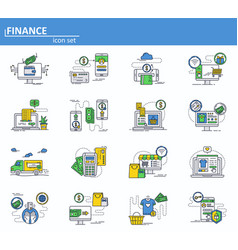 set of online money payments and internet vector image