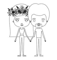 Silhouette caricature thin couple in clothes man vector