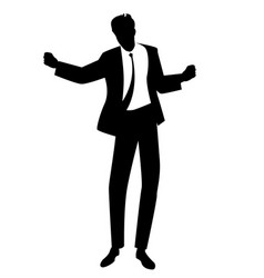 silhouette man dancing new wave music wearing vector image
