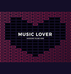 sound wave heart shaped frame music equalizer vector image